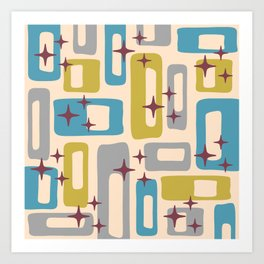 Retro Mid Century Modern Abstract Pattern 924 Turquoise Gray Olive Art Print