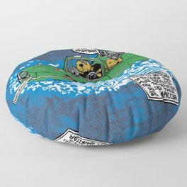 BLUE Sea Otters in their Amphicar Floor Pillow