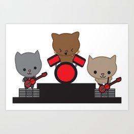 Kitty Cat Kawaii Band usic Art Print
