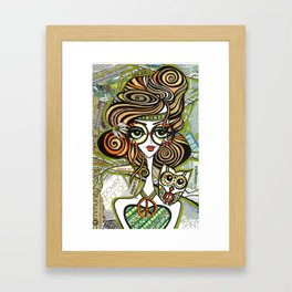 Positive Art and Girls with Owls Art Decor Collection: Sophie Framed Art Print