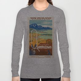 Vintage poster - New Zealand Long Sleeve T-shirt