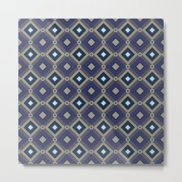Vintage Quilted Patchwork Retro Geometric Seamless Pattern Metal Print
