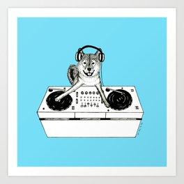 Shiba Inu Dog DJ-ing Art Print