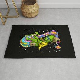 Alien Stoner Riding Bong Rug