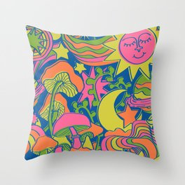 Psychedelic Daydream in Neon + Blue Throw Pillow