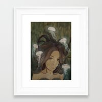 siren Framed Art Prints featuring Siren by  The Floral Fox
