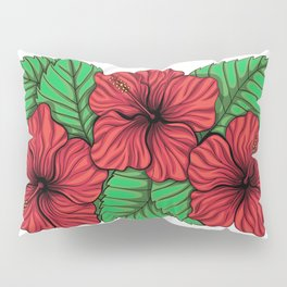 Bouquet of hibiscus flower and tropical leaves Pillow Sham