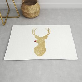 Rudolph The Red-Nosed Reindeer | Gold Glitter Rug