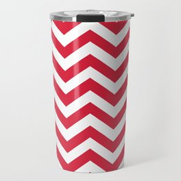 Red Chevron Pattern. Colorful zig zag stripe desig Travel Mug