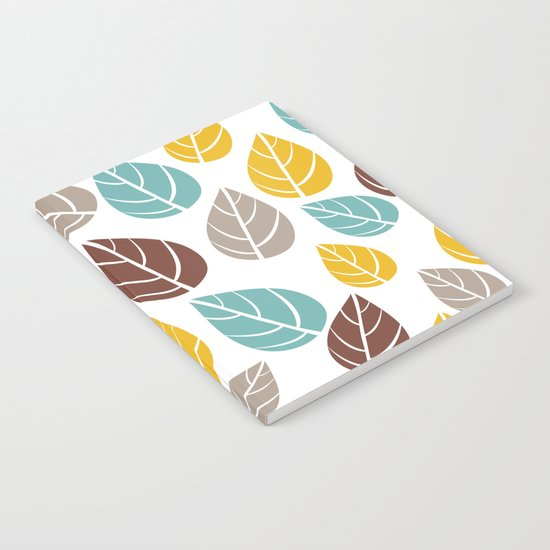 Seamless Autumn Leaves Pattern Notebook