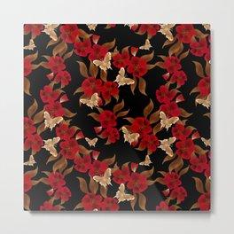 Red black floral pattern Metal Print
