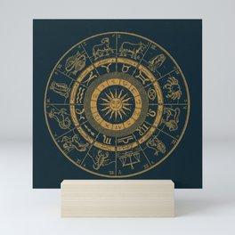 Vintage Zodiac & Astrology Chart | Royal Blue & Gold Mini Art Print