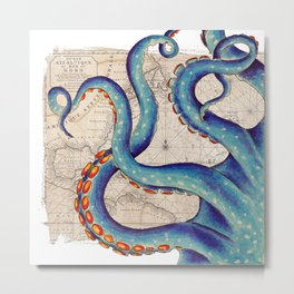 Octopus Tentacles Vintage Map Blue Metal Print
