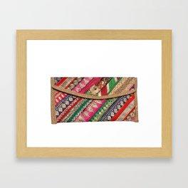 Antique Batik Patchwork Clutch Bag Purse Framed Art Print