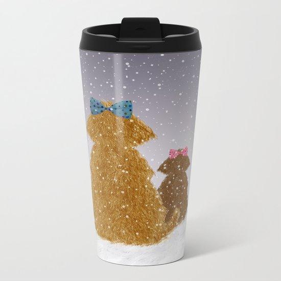 Cute Dogs Winter Scene Metal Travel Mug