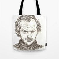 jack nicholson Tote Bags featuring Jack Torrance by Travis Hess