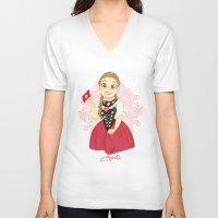 switzerland V-neck T-shirts featuring Switzerland by Melissa Ballesteros Parada