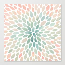 Floral Bloom, Abstract Watercolor, Coral, Peach, Green, Floral Prints Canvas Print