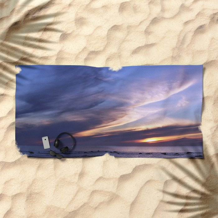 Feathered Clouds at Sunset Beach Towel