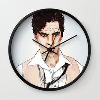 benedict cumberbatch Wall Clocks featuring Benedict Cumberbatch by Alisha Henry