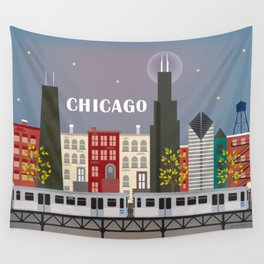 Chicago, Illinois - Skyline Illustration by Loose Petals Wall Tapestry