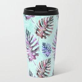Modern hand painted pink purple watercolor monster leaves Travel Mug