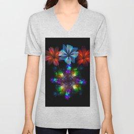 Fractal Flame Floral Arrangement Unisex V-Neck