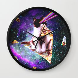Outer Space Pizza Cat - Rainbow Laser, Taco, Burrito Wall Clock