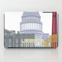 washington dc iPad Cases featuring Washington DC skyline poster by Paulrommer