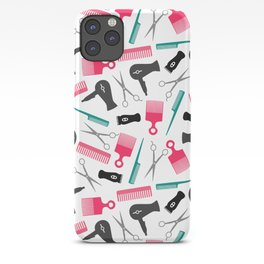 Pink Black Teal Hair Stylist Tools iPhone Case