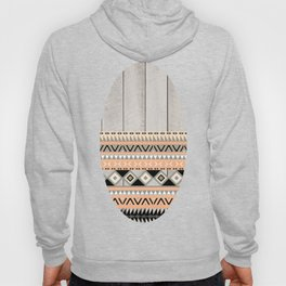 Peach Coral Andes Abstract Aztec Tribal Gray Wood Hoody