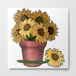 Potted Sunflowers Metal Print