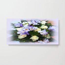Roses and Freesias Metal Print
