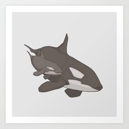 Orca Mother and Calf Art Print