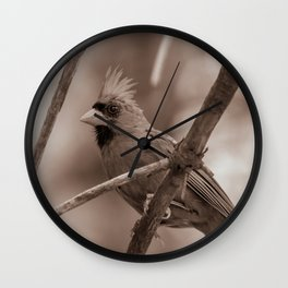 Northern Red Cardinal BW Wall Clock