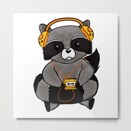 three wise raccoon music Metal Print