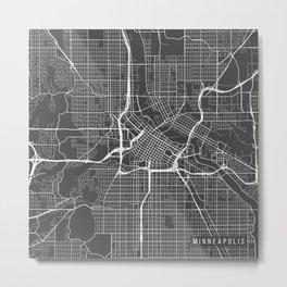 Minneapolis Map, USA - Gray Metal Print