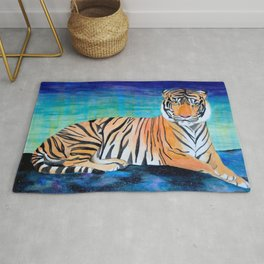 Tiger in the Stars Watercolor Rug