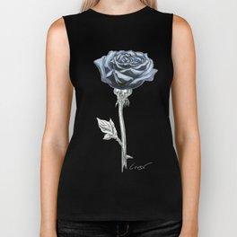 Rose 03b Botanical Flower * Blue Black Rose Biker Tank