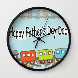 Happy Father's Day Train Wall Clock