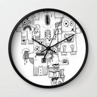 war Wall Clocks featuring War by Cobrinha