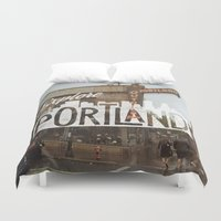 portland Duvet Covers featuring Explore Portland by cabin supply co
