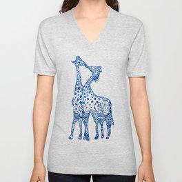 Giraffes kiss art Unisex V-Neck