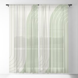 Two Tone Line Curvature XVI Sheer Curtain