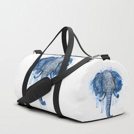 Blue Watercolor Elephant Head Duffle Bag