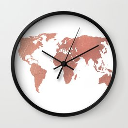 Faux Rose Gold World Map Wall Clock