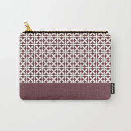 Pantone Cannoli Cream Square Petal Pattern on Pantone Red Pear Carry-All Pouch