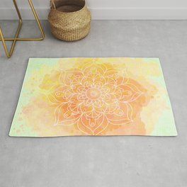 Watercolor Mandala // Sunny Floral Mandala Rug