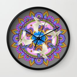 BLUE CHAKRA MANDALA WITH WHITE DOVES& PURPLE-GREY ART Wall Clock