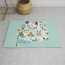 Paris Illustrated Map Rug